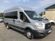 2017/17 REG FORD TRANSIT 460 TREND ECONETIC 2.2 DIESEL 17 SEAT MINIBUS, SHOWING 0 FORMER KEEPERS