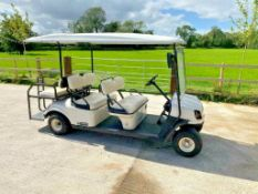 CUSHMAN 6 SEATER GOLF BUGGY, ELECTRIC, YEAR 2016, CUSHMAN SHUTTLE 6, VERY LITTLE USE FULL SUN CANOPY