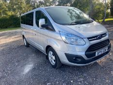 2015/15 REG FORD TOURNEO CUSTOM 300 LTD ECO-TECH 2.2 DIESEL SILVER MINIBUS, SHOWING 1 FORMER KEEPER