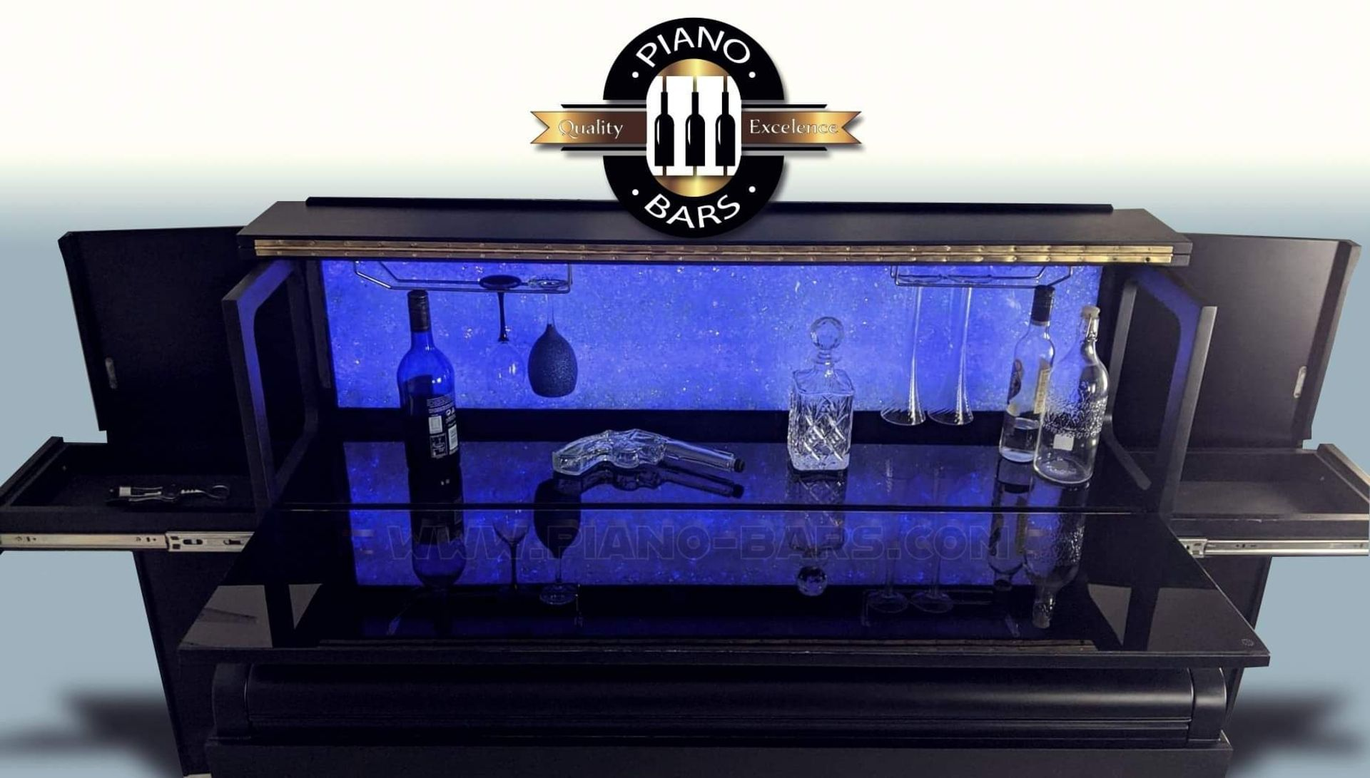 BRAND NEW PIANO BAR WITH BUILD IN TWO FRIDGES FOR 12 BOTTLE EACH. - Image 12 of 12