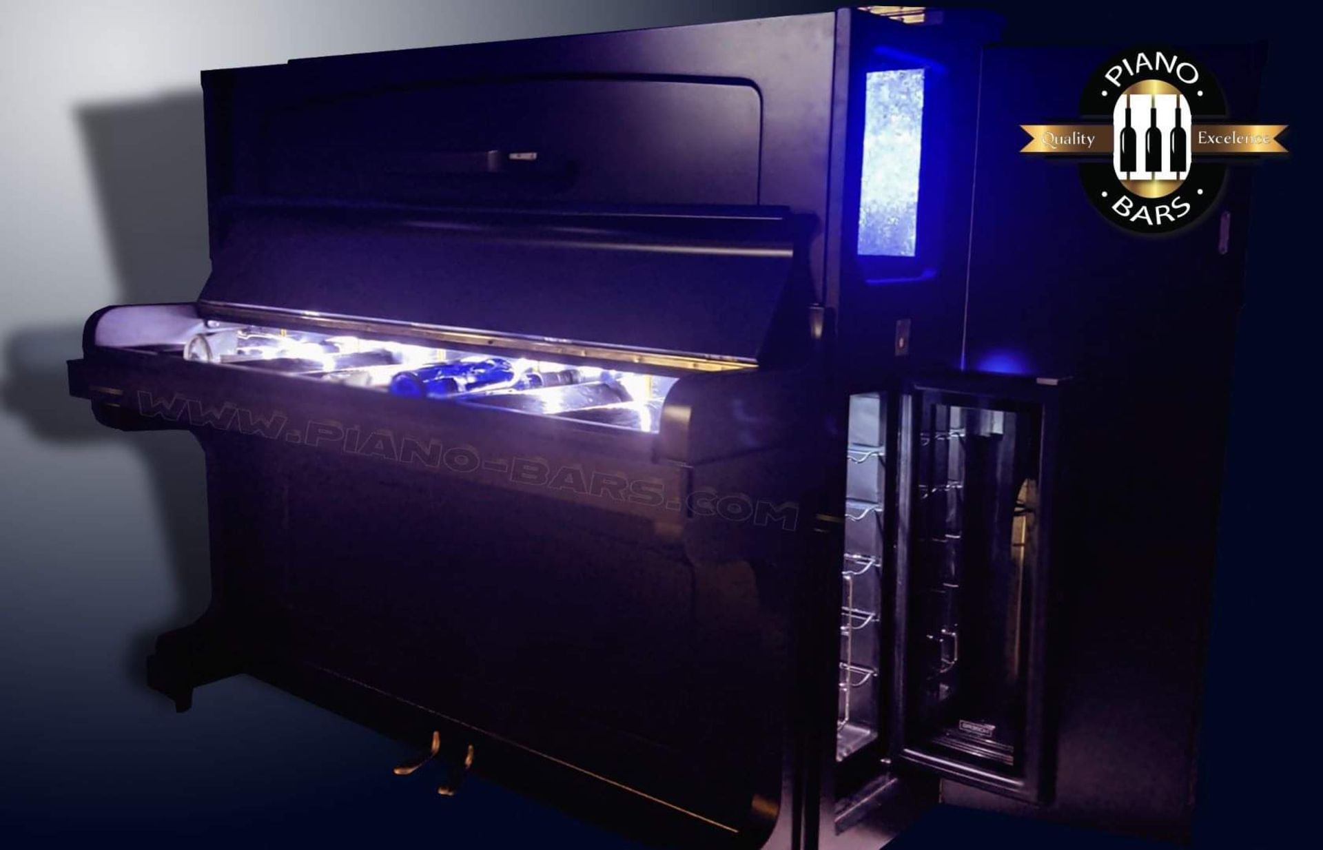 BRAND NEW PIANO BAR WITH BUILD IN TWO FRIDGES FOR 12 BOTTLE EACH. - Image 5 of 12