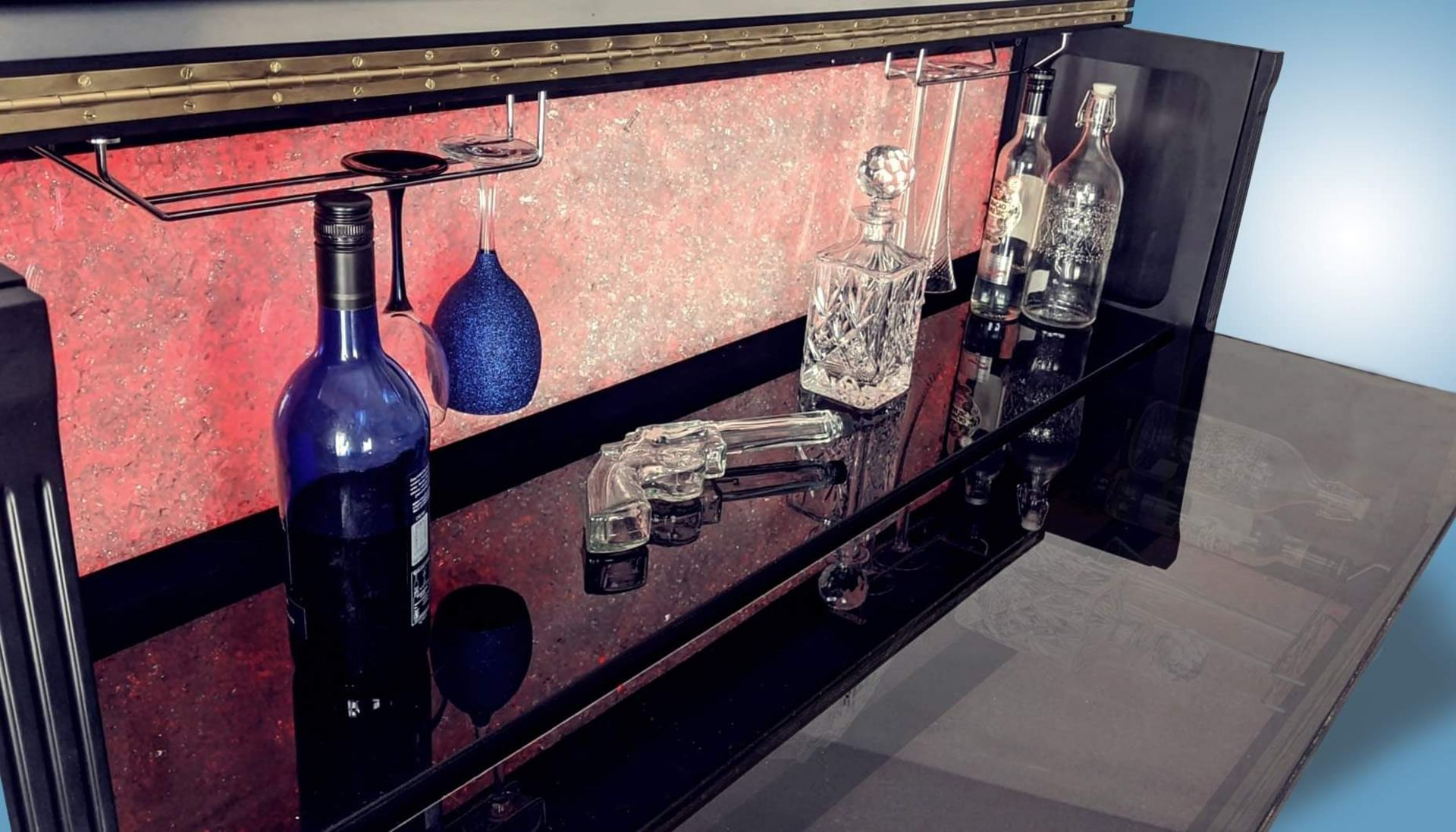 BRAND NEW PIANO BAR WITH BUILD IN TWO FRIDGES FOR 12 BOTTLE EACH. - Image 3 of 12