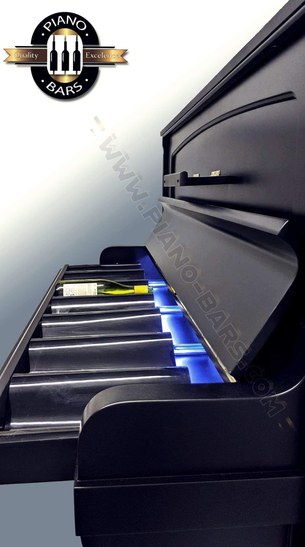 BRAND NEW PIANO BAR WITH BUILD IN TWO FRIDGES FOR 12 BOTTLE EACH. - Image 8 of 12