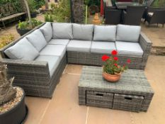 OUTDOOR PATIO FURNITURE WITH CUSHIONS - YOU ARE BIDDING FOR BOTH CORNER SEATS *PLUS VAT*