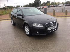 2010/10 REG AUDI A3 SE TDI S-A 1.6 DIESEL BLACK 5 DOOR HATCHBACK, SHOWING 3 FORMER KEEPERS *NO VAT*