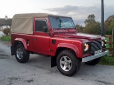 1998/R REG LAND ROVER DEFENDER 90 CSW TDI 95 RED CONVERTIBLE 6 SEATER, SHOWING 2 FORMER KEEPERS