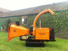 TIMBERWOLF TW 150VTR TRACKED WOOD CHIPPER, KUBOTA DIESEL ENGINE, ONLY 777 HOURS, EXPANDING TRACKS