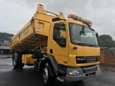 2013/62 REG DAF TRUCKS LF FA 55.250 YELLOW TIPPER 18 TON 3 WAY MANUAL GEARBOX, EX COUNCIL *PLUS VAT*