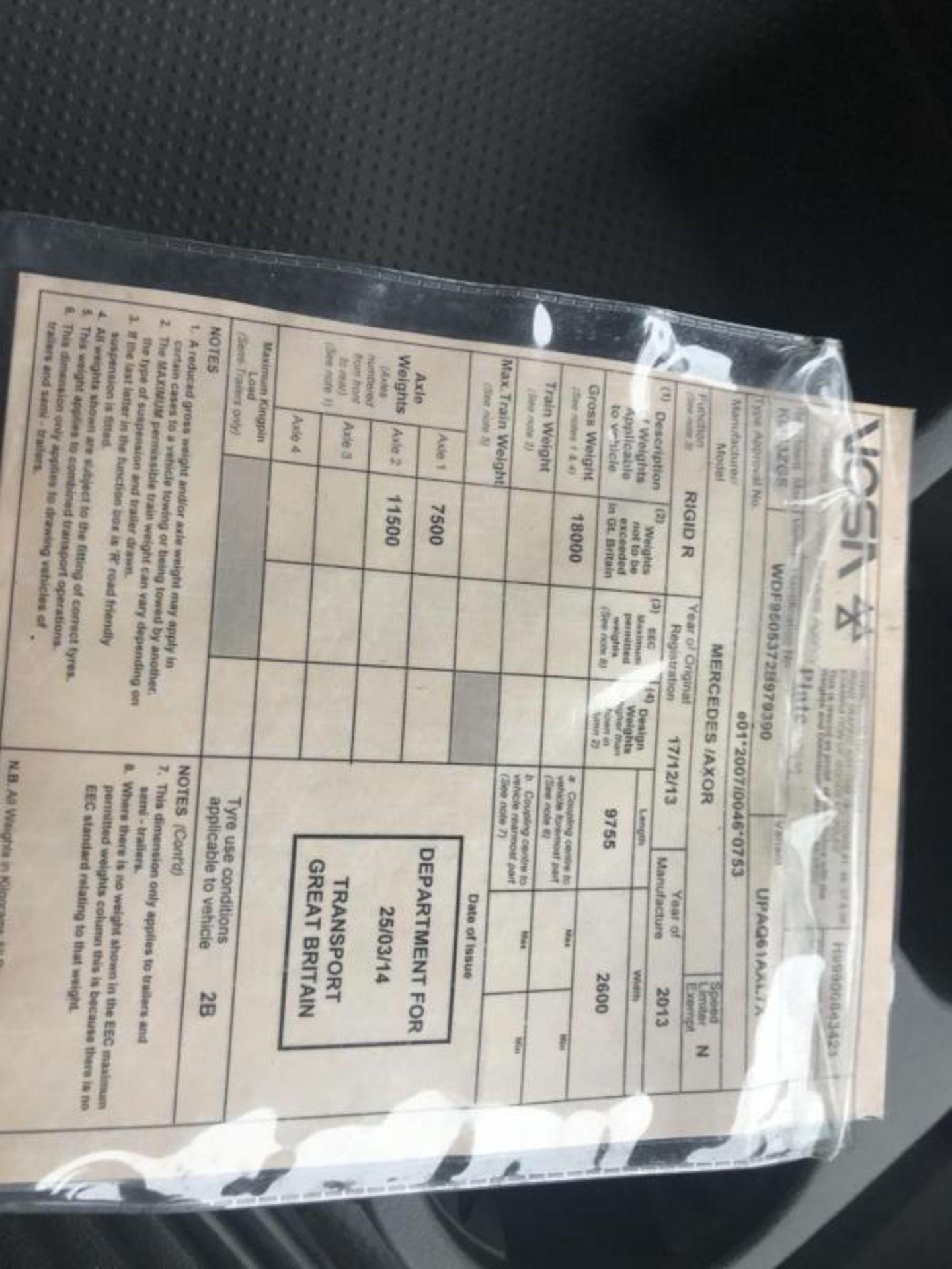 2013/63 REG MERCEDES-BENZ AXOR ATEGO 1824L DAY WHITE FRIDGE BOX TAIL LIFT AIR SUSPENSION *PLUS VAT* - Image 7 of 21