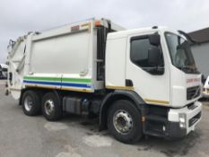 2013/13 REG VOLVO FE300 6X2 L2H1 WHITE REFUSE TRUCK BIN LORRY SHORT BODY BIN LIFT *PLUS VAT*