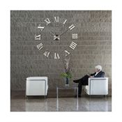 3D DIY EXTRA LARGE NUMERALS LUXURY MIRROR WALL CLOCK SILVER *PLUS VAT*