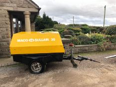 MACO SULLAIR 35 SINGLE AXLE AIR COMPRESSOR, 4 CYLINDER KUBOTA DIESEL ENGINE, RUNS, WORKS, MAKES AIR