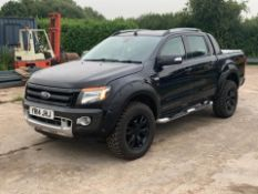 2014/14 REG FORD RANGER WILDTRAK 4X4 D/C TDCI 3.2L AUTOMATIC BLACK PICK-UP, SHOWING 2 FORMER KEEPERS