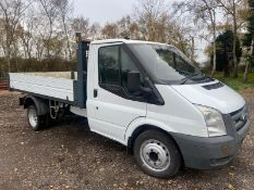 2011/61 REG FORD TRANSIT 140 T350M LTD D/C 2.4 DIESEL WHITE TIPPER, SHOWING 1 FORMER KEEPER