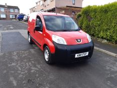 2011/11 REG PEUGEOT BIPPER S HDI 1.4 DIESEL RED PANEL VAN, SHOWING 0 FORMER KEEPERS *PLUS VAT*