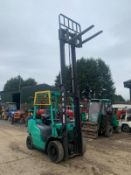 2015 MITSUBISHI FG25NT GAS FORKLIFT, RUNS, DRIVES, LIFTS, CLEAN MACHINE, SIDE SHIFT, CONTAINER SPEC