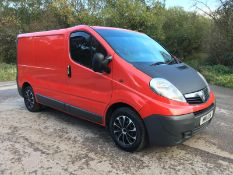 2011/11 REG VAUXHALL VIVARO 2700 CDTI 113 SWB 2.0 DIESEL RED PANEL VAN, SHOWING 2 FORMER KEEPERS