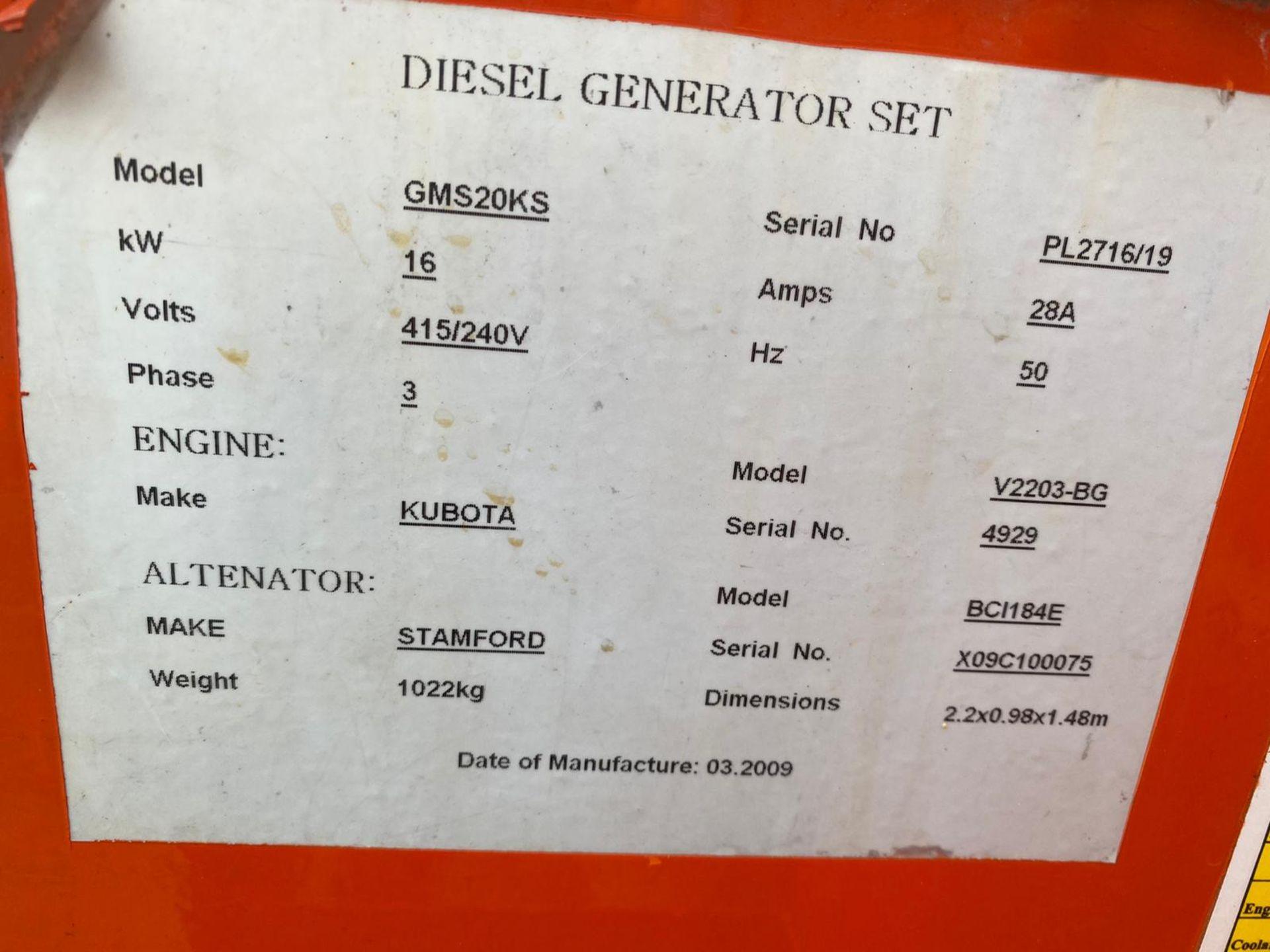 POWERLINK GMS20KA 20KVA SILENT DIESEL GENERATOR *PLUS VAT* - Image 3 of 6