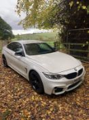 2015/65 REG BMW 420D M SPORT 2.0 DIESEL AUTOMATIC WHITE COUPE, SHOWING 2 FORMER KEEPERS *NO VAT*