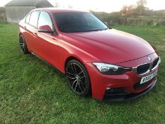 2015/65 REG BMW 320D ED SPORT, 2.0 DIESEL RED 4 DOOR SALOON, SHOWING 1 FORMER KEEEPR *NO VAT*