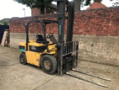 DAEWOO/CAT 3.5 TON FORKLIFT MODEL D35S COMPLETE WITH PERKINS DIESEL ENGINE, DUPLEX MAST, SIDE SHIFT