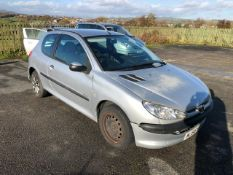 2006/56 REG PEUGEOT URBAN 206 1.4 PETROL SILVER 3 DOOR HATCHBACK, SHOWING 3 FORMER KEEPERS *NO VAT*