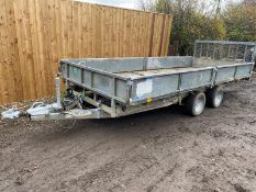 "IFOR WILLIAMS HYDRAULIC TILT BED TRAILER, REAR DROP DOWN RAMP & DROP SIDES, 16FT X 6FT 6"" *PLUS VAT*"