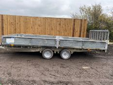 """IFOR WILLIAMS HYDRAULIC TILT BED TRAILER, REAR DROP DOWN RAMP AND DROP SIDES, 16FT X 6FT 6"""""""