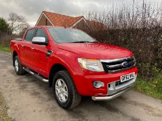 2013/62 REG FORD RANGER LIMITED 4X4 TDCI 3.2 DIESEL MANUAL RED PICK-UP, SHOWING 1 FORMER KEEPER
