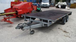 IFOR WILLIAMS TWIN AXLE TOWABLE TRAILER 3.5 TON 16 FOOT TRAILER WITH HEAVY DUTY STOW AWAY RAMPS
