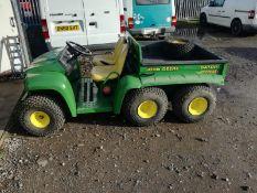 John deere gator 6 wheel 4x4 .crica 2010 3500 hrs use .light on the ground. electric tipper