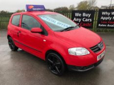 2007/07 REG VOLKSWAGEN FOX 55 1.2 PETROL RED 3 DOOR HATCHBACK, SHOWING 1 FORMER KEEPER *NO VAT*