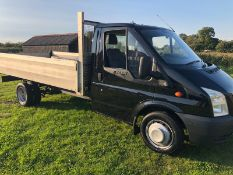 2007/07 REG FORD TRANSIT 115 T350EF RWD 2.4 DIESEL BLACK DROPSIDE, SHOWING 3 FORMER KEEPERS *NO VAT*