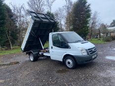 2011/61 REG FORD TRANSIT 140 T350M LTD D/C WHITE TIPPER, SHOWING 1 FORMER KEEPER *PLUS VAT*