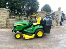 EX DEMO,JOHN DEERE X584 RIDE ON LAWN MOWER WITH COLLECTOR DOM 16,10,2018 ARRIVED IN THE UK IN 2019