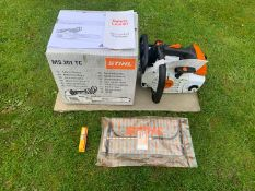 BRAND NEW AND UNUSED STIHL MS201TC TOP HANDLE SAW, C/W MANUAL, SPARK PLUG, MULTI TOOL *NO VAT*