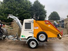 2009 SAELEN PREMIUM 29 DRI EVO WOOD CHIPPER SINGLE AXLE, RUNS AND CUTS, CLEAN MACHINE, LOW 419 HOURS