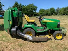 JOHN DEERE X595 RIDE ON LAWN MOWER, RUNS, DRIVES AND CUTS, 2080 HOURS, FRONT WEIGHTS *PLUS VAT*