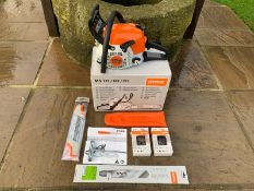 "BRAND NEW & UNUSED STIHL MS181 CHAINSAW, C/W 14"" BAR X2 CHAINS, MANUAL, TOOLS, 2IN1 FILE, BAR COVER"