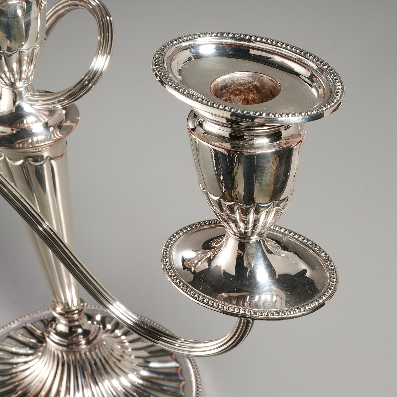 Lot 50 - Pair English Silver Plated Candelabra & Sticks
