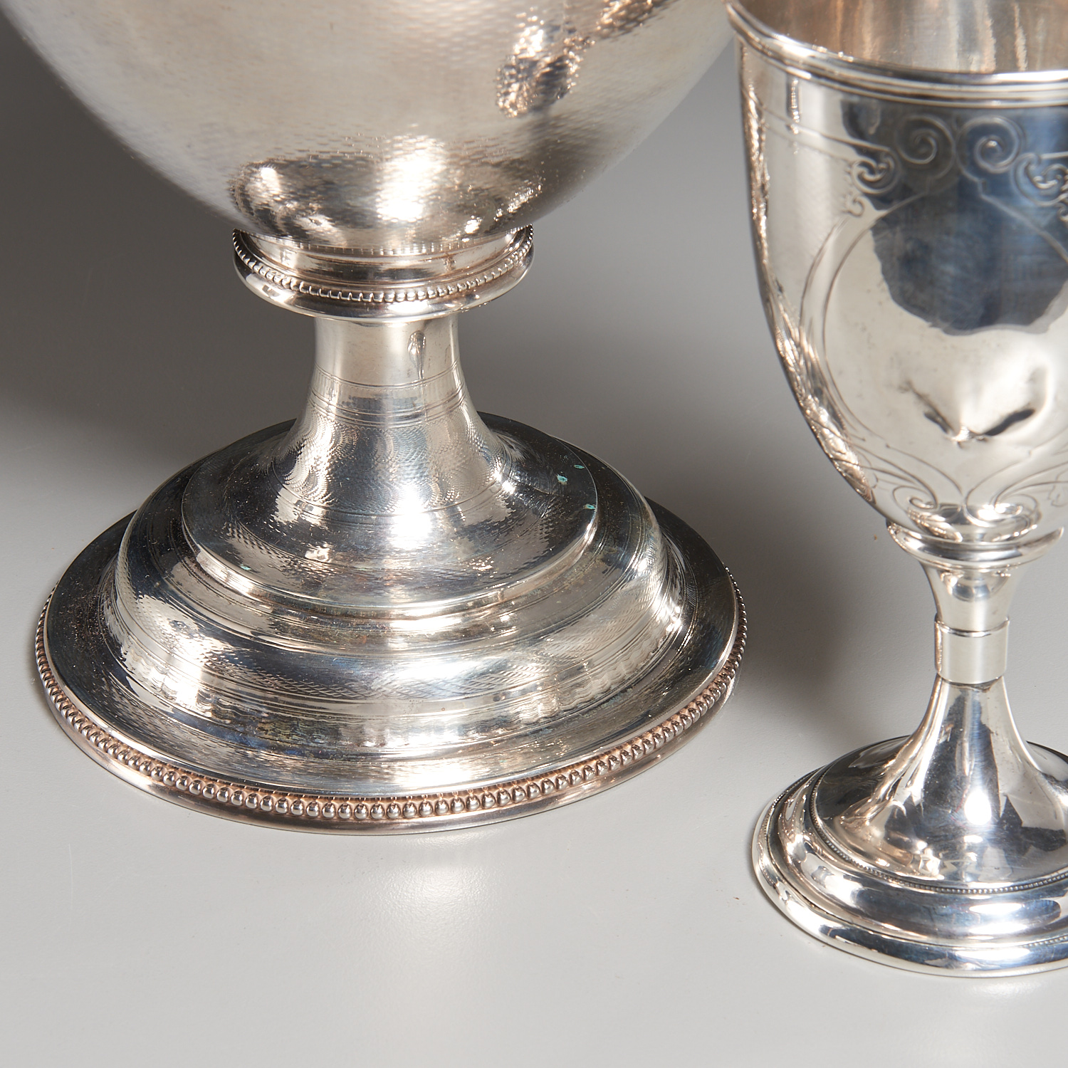 Lot 51 - American Neo-Classical Sterling Ewer & Goblets