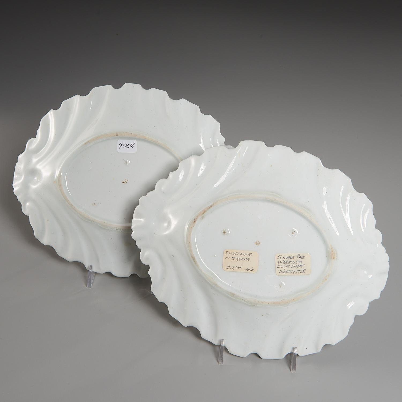 """Lot 1 - Pair Chelsea Porcelain """"Silver-Shape"""" Dishes"""