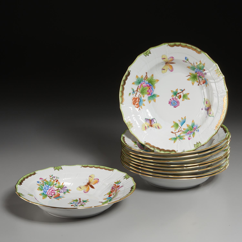 Lot 57 - (10) Herend Porcelain Large Soup Bowls