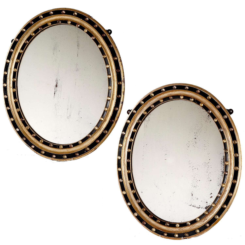 Lot 43 - Pair Irish Regency Ebonized and Jeweled Mirrors