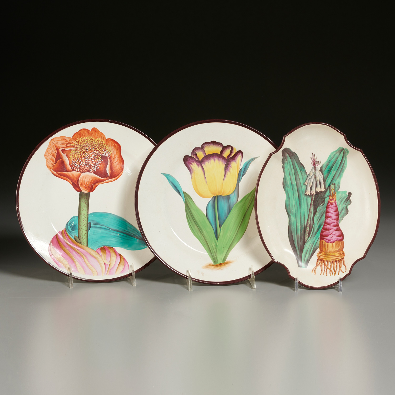 Lot 2 - (3) English Creamware Botanical Dishes
