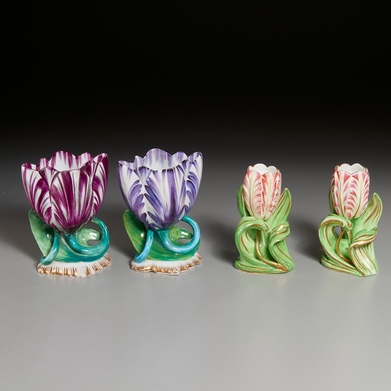 Lot 10 - (2) Pairs Staffordshire Tulip-Form Vases