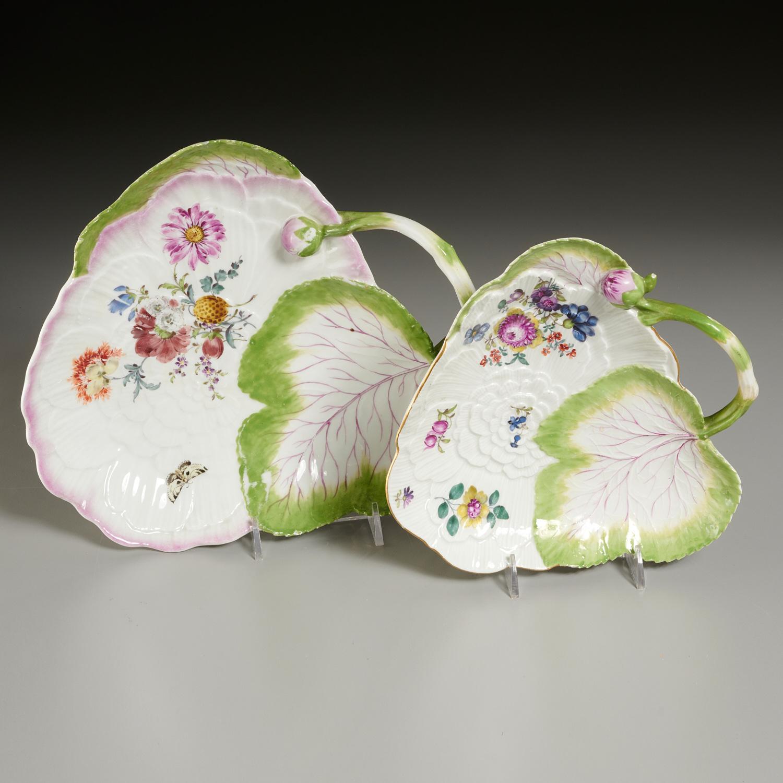 Lot 25 - (2) Meissen Porcelain Leaf-Form Sweetmeat Dishes