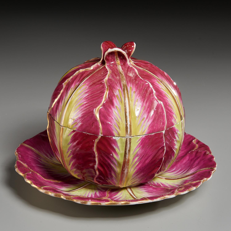 Lot 8 - Meissen or Wallendorf Red Cabbage-Form Tureen