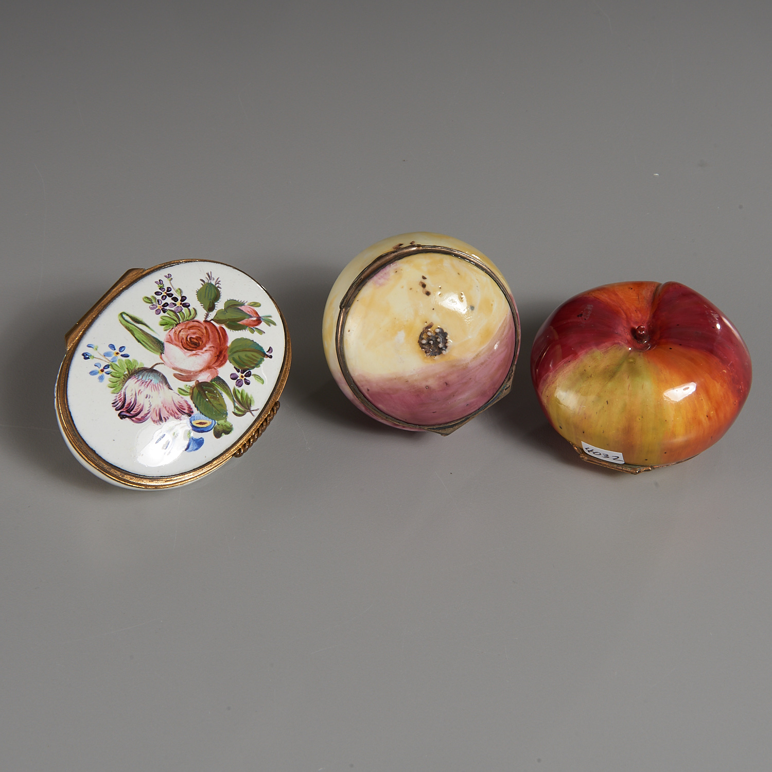 Lot 33 - (3) English Fruit and Floral Bonbonnieres