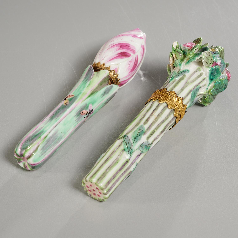 Lot 30 - (2) English Naturalistic Porcelain Bodkin Cases